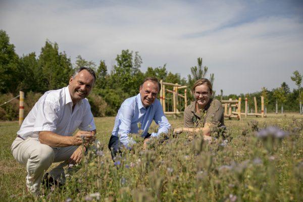 Gerald Bischof zwischen dem Forstdirektor und einer weiteren Mitarbeiterin des Forstamtes vor einer Wildblumenwiese am Spielplatz bei der Traviatagasse