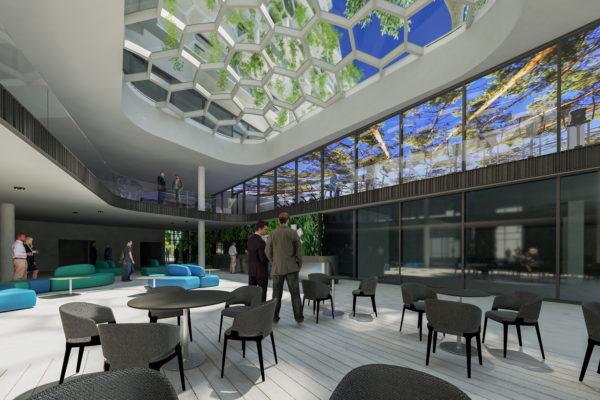 Rendering: Innenraum Ansicht des neuen Gebäudes