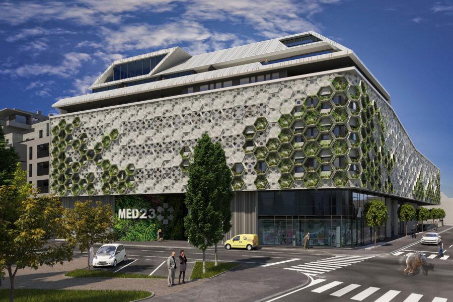 Rendering vom künftigen Gebäude des MED23