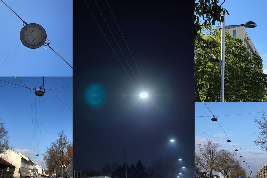 Collage aus verschieden Fotos von LED Lampen bei Tag und Nacht