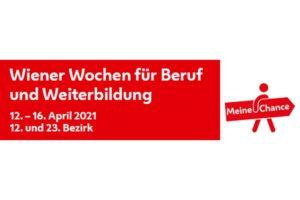 Rotes WAFF Banner auf weißem Hintergrund mit weißer Schrift im roten Bereich: Wiener Wochen für Beruf und Weiterbildung