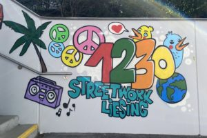 Graffiti auf der Wand des Stiegenhaus