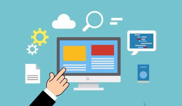 Grafik mit türkisem Hintergrund und Piktogrammen von Laptop, Sonne, Wolke, Lupe,